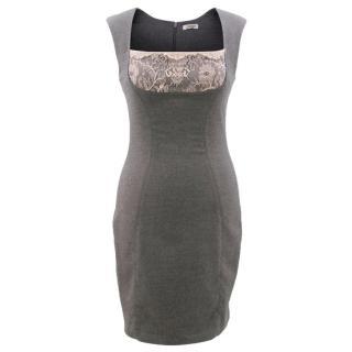 L'agence Grey Lace Detail Dress