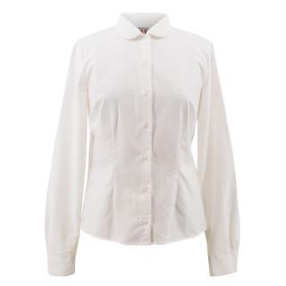 Shrimps White Embroidered Cotton Shirt