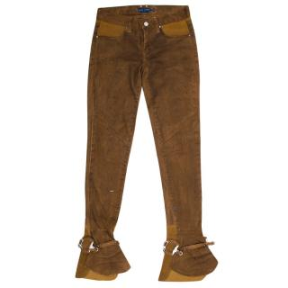 Ralph Lauren Brown Slim Boot Lobero Leather Jeans