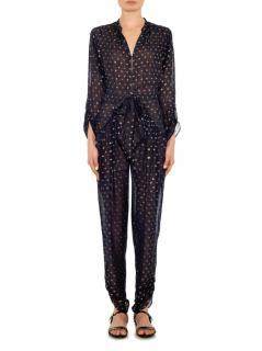 Stella McCartney Black and Gold Sheer Silk Jumpsuit