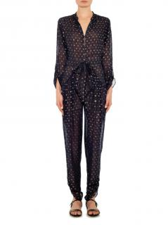 Stella McCartney Black and Gold Sheer Silk Jumpsuit