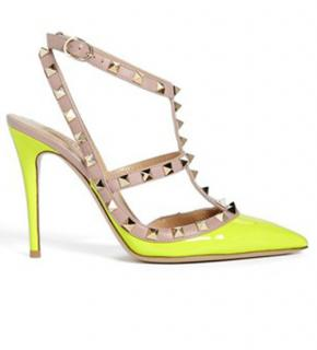 Valentino neon yellow rockstud shoes uk6.5 eu40