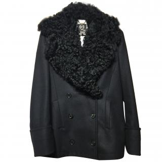 McQ Detachable Fur Collar Wool Coat