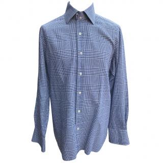 Tom Ford blue and white checked shirt