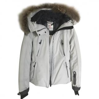 Moncler down ski jacket with  raccoon hood