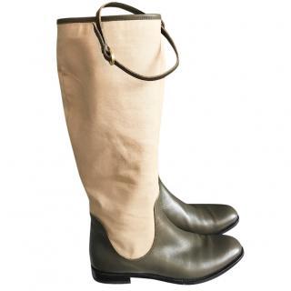 Pollini khaki and beige boots