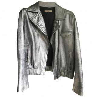 Sandro silver leather biker jacket