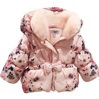 Armani Baby Rose Pink Down Jacket With Removable Fur Collar