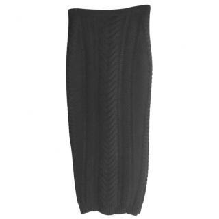 Balmain Black Chunky Knit Skirt
