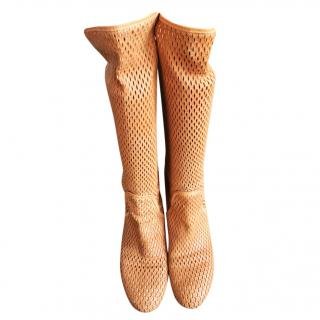Italian tan soft perforated  leather boots