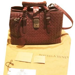 Bottega Veneta burgundy Roma shoulder tote bag