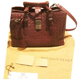 Bottega Veneta burgundy Roma shoulder tote bag