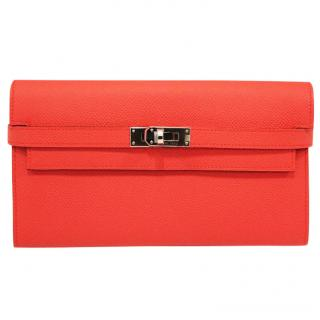 HERMES Rose Jaipur Epsom Leather Kelly Wallet