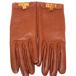 HERMES Tan Leather Gloves