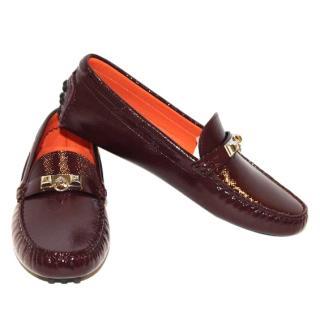 HERMES Oxblood patent irvine loafers
