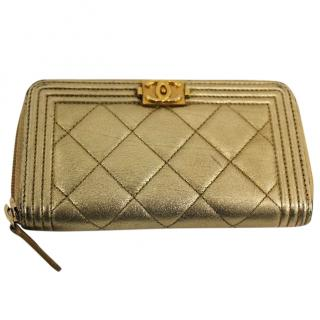 CHANEL Gold Distressed Leather Boy Wallet