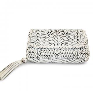ANYA HINDMARCH Woven White Clutch