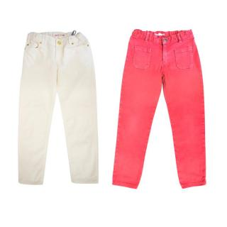 Bonpoint Pink and White Straight Leg Trousers