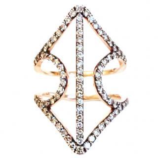 Diane Kordas open sheild ring 18ct with diamonds
