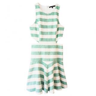 Tibi Green & White Cut Out Dress
