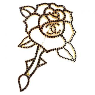 Chanel gold and black diamante stone brooch