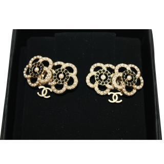 CHANEL Camelia Pierced Earrings