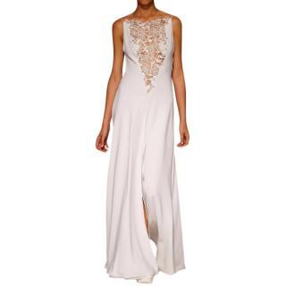 David Fielden White Crepe/Organza Gown