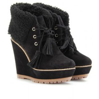 Mulberry Wedge Shearling Booties