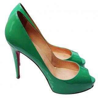 Christian Louboutin Lady Peep Green Patent Pumps