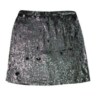 Rachel Gilbert Silver Sequin Skirt