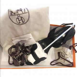 Hermes Black Patent Night Sandals