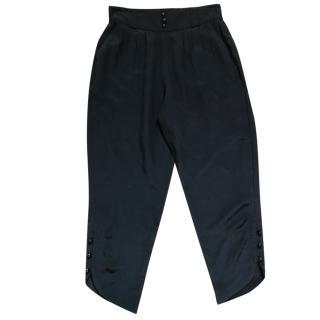 American Retro black silk trousers