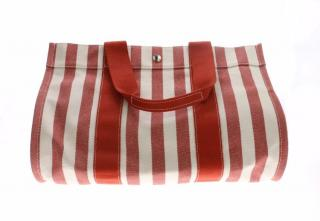 Hermes Red Striped Tote Bag