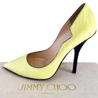 Jimmy Choo Lemon And Black Snakeskin Pumps