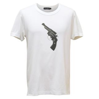 Dolce & Gabanna White Gun Print Top