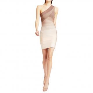 Herve Leger Alexis One-Shoulder Ombre Bandage Dress