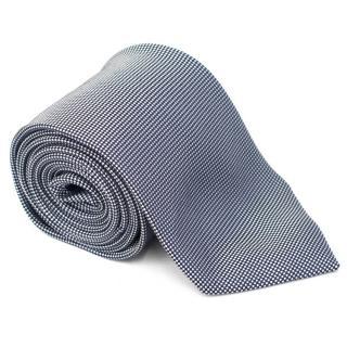 Ermenegildo Zegna Navy and White Pattern Silk Tie
