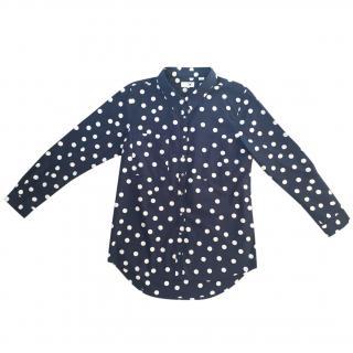 CHINTI & PARKER 100% cotton navy blue & cream polka dot shirt