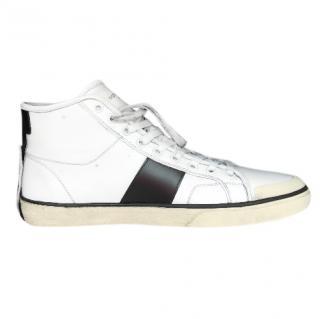 Saint Laurent Mens Distressed Classic Court High Top Sneakers