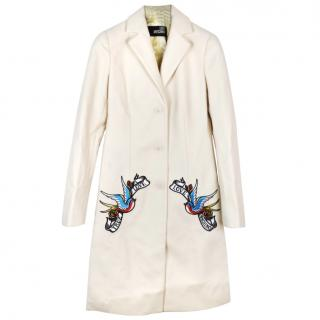 Love Moschino appliqued wool blend cream coat