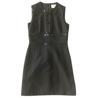 Michael Kors black wool sleeveless dress with laque details