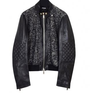 DSquared2 leather and wool black jacket