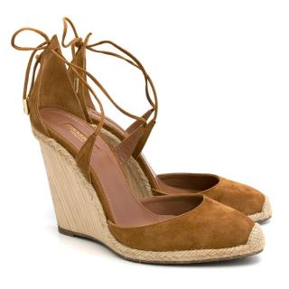 Aquazzura Brown Wedge Sandals