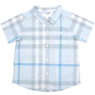 Burberry Children Blue Checked Shirt