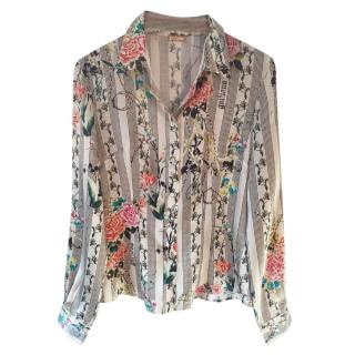 GALLIANO silk floral multicoloured printed blouse