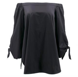 Tibi Black Off-The-Shoulder Tunic
