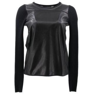 Reed Krakoff Black Leather and Cashmere Jumper