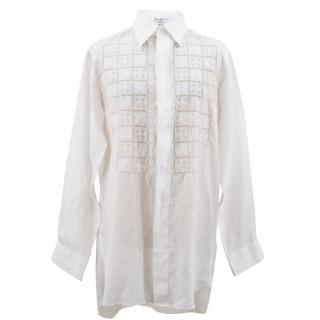 Yohji Yamamoto White Linen Pattern Shirt