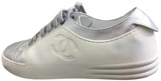 Chanel 17 P White And Silver Calfskin Sneakers