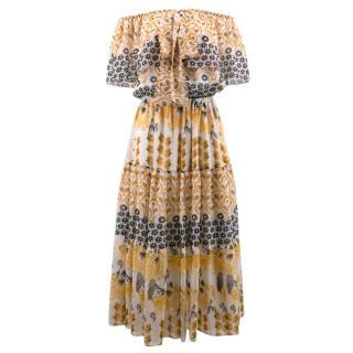 Temperley Off the Shoulder Floral Print Dress